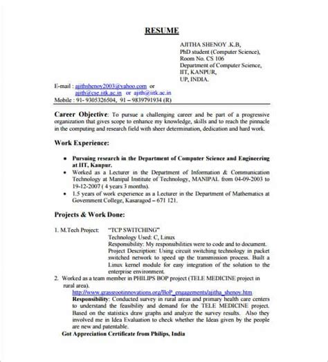 Sle Resume For Freshers Engineers In Computer Science Resume Template For Fresher 10 Free Word Excel Pdf Format Free Premium Templates