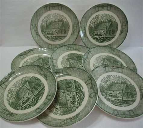 Vintage Set Af antique plates antique yellow ceramic
