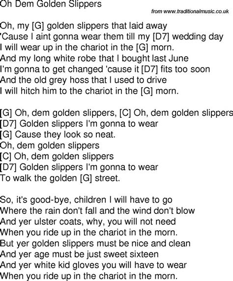 song golden slippers time song lyrics with chords for oh dem golden