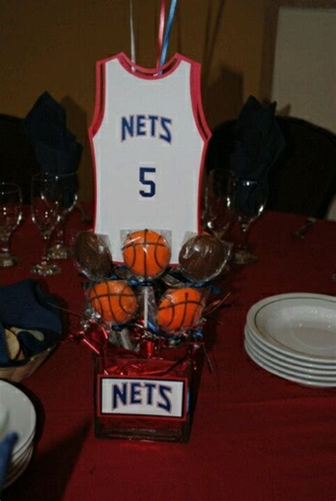 Basketball theme centerpieces.   Birthday parties   Pinterest