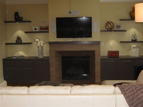 media center with floating shelves home projects