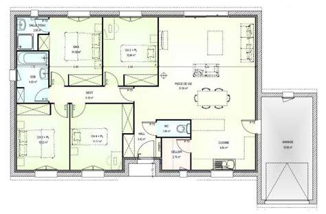 Plan Villa Plain Pied 4 Chambres by Plan Maison 4 Pieces Plain Pied Immobilier Pour Tous