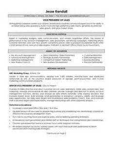 Vp Resume Sles by Exle Vice President Of Sales Resume Free Sle