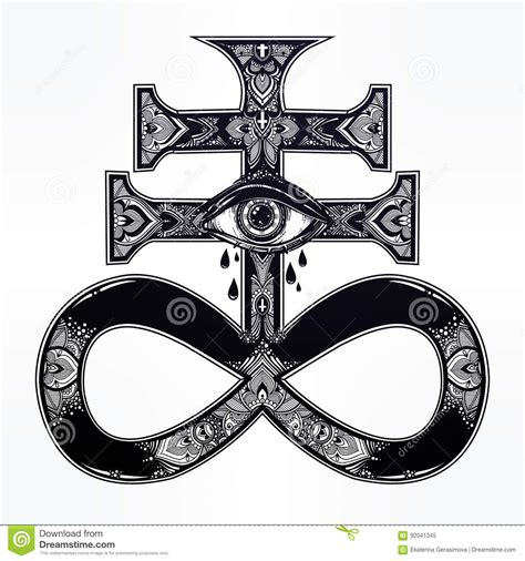 the satanic cross with evil eye demon leviathan stock
