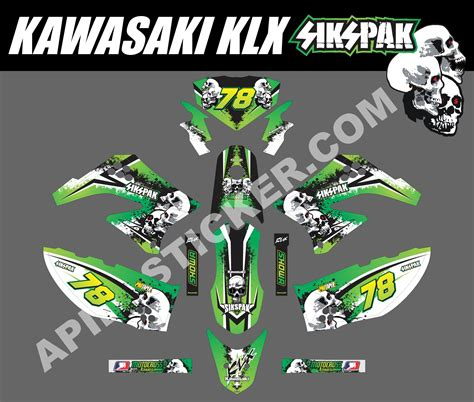 Sticker Decal Striping Dekal Stiker Klx 149 Glossy striping motor kawasaki klx 150 sikspak apien sticker
