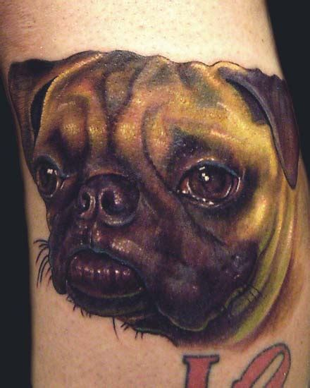 nate beavers tattoo color pug portrait by nate beavers tattoonow