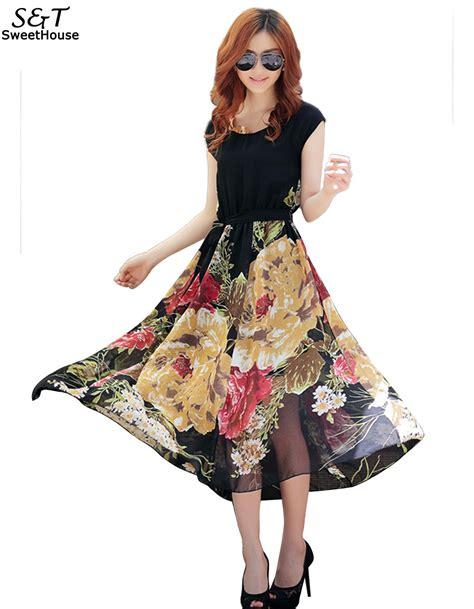 fanala dress 2017 bohemian dresses sleeve chiffon pleated hem vintage floral