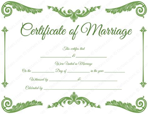marriage license template royal corner marriage certificate template dotxes