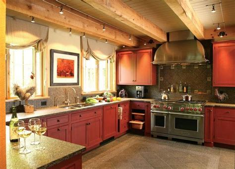 rustic red kitchen cabinets cozy kitchen red kitchen and red kitchen cabinets on