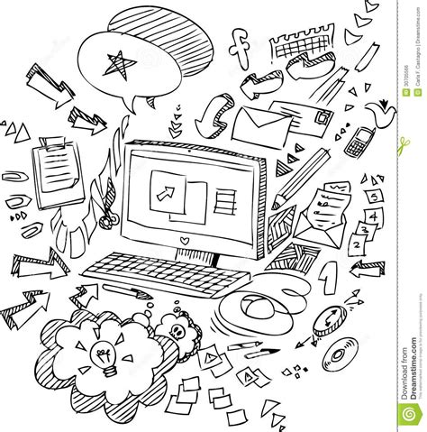 doodle pc pc sketchy doodles vector stock vector illustration of