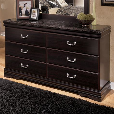 dresser 6 drawer chest antiqued finish faux marble top bedroom signature design by ashley esmarelda 6 drawer dresser with