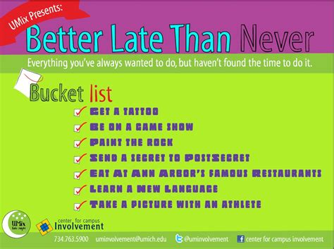 late is better than never umix better late than never cus involvement