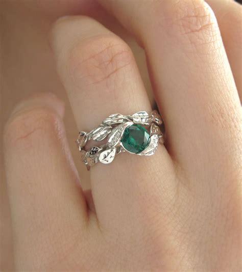 Wedding Rings Leaves by Leaf Wedding Set Leaf Engagement Ring Set Emerald Leaves