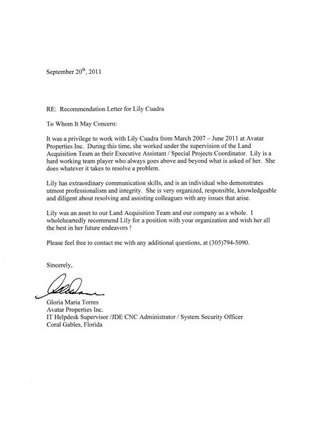 Recommendation Letter Sles For Colleague Recommendation Letter For Co Worker Cover Letter Exle