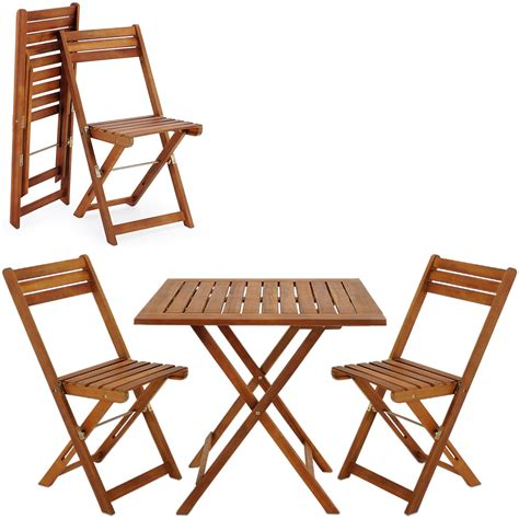 Wooden Folding Table And Chairs Wooden Garden Dining Table Chair Set Folding Balcony Furniture Table Set Wood Ebay