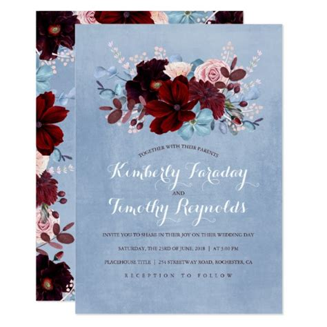 wine and gold template wedding invitation card sle with photo burgundy and dusty blue floral wedding card