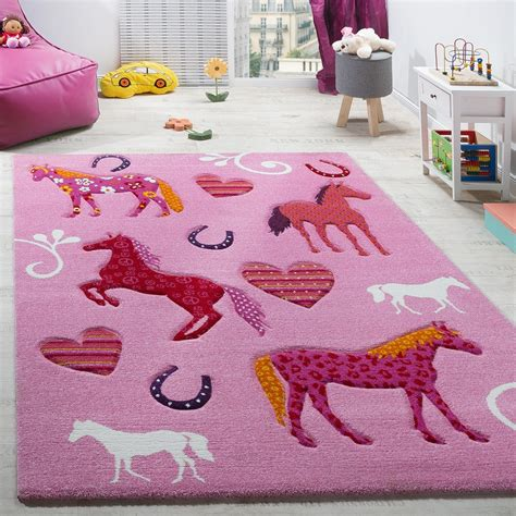 teppich pink children s room rug child s rug horses hoof designs