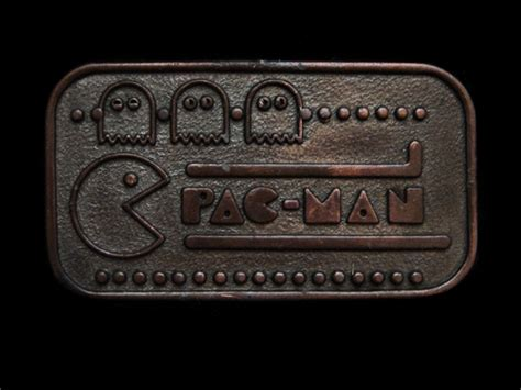 Pacman Belt Buckle And Tie From The Ex Boyfriend Collection by Nc01171 Vintage 1980 Pac Logo Brasstone