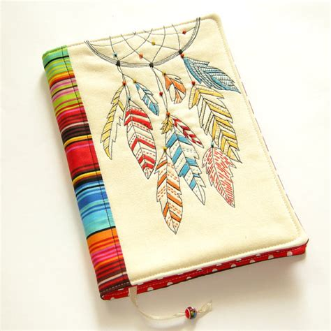 Book Cover Design Handmade - dreamcatcher fabric book cover reusable notebook