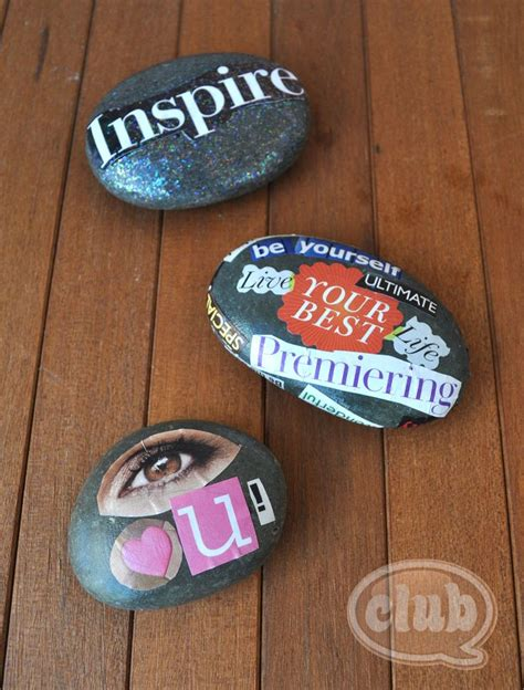 rock craft projects vision rocks magazine clippings mod podge lovely