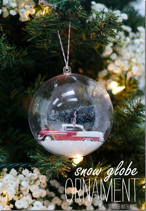 snow globe ornament diy snow globe and bottle brush trees