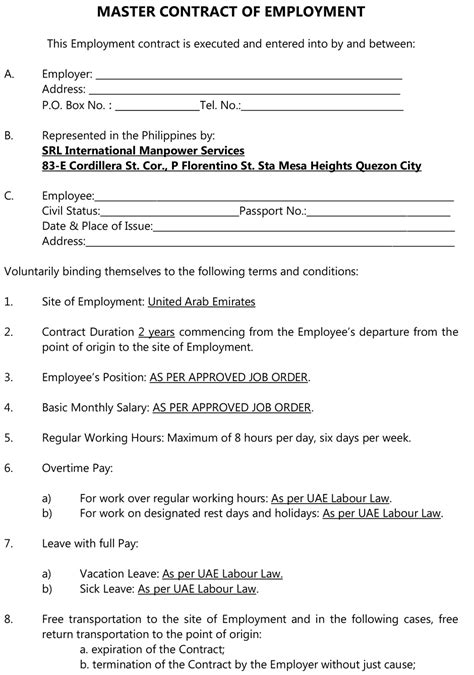 For Employers Srl International Manpower Services Nail Technician Contract Template