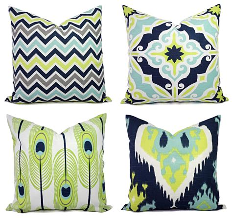 decorative pillow cover blue and green pillows ikat pillow