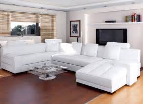 White Living Room Furniture Modern White Leather Sectional Sofa For Contemporary