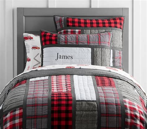 plaid patchwork quilted bedding pottery barn