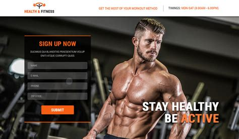 Health Fitness Best Landing Page Template For Gym Sports Olanding Fitness Landing Page Templates
