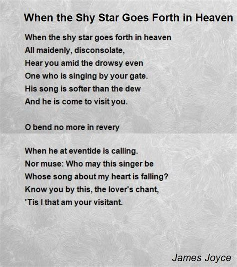 on the s side of heaven books when the goes forth in heaven poem by joyce