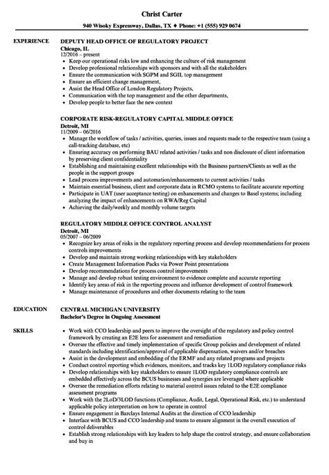 Operational Risk Analyst Sle Resume by Regulatory Office Resume Sles Velvet