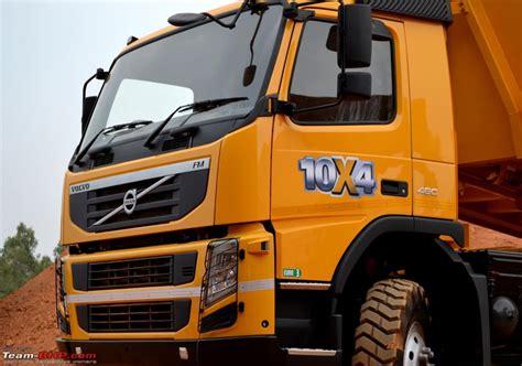 report pics volvo launches   fm  dump truck team bhp