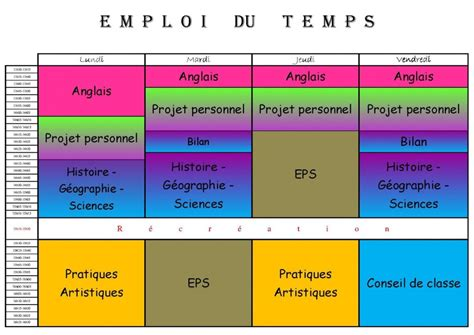 Modèle Emploi Du Temps Excel modele emploi du temps sous excel document