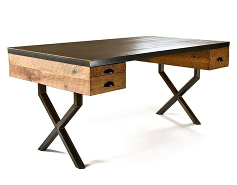 wood desk steel and reclaimed wood walter desk by richard velloso