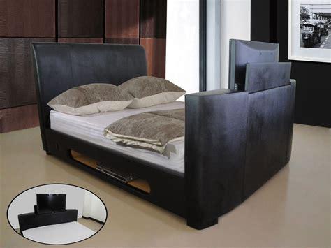 king size tv bed frame tv bed frame bonded leather homegenies