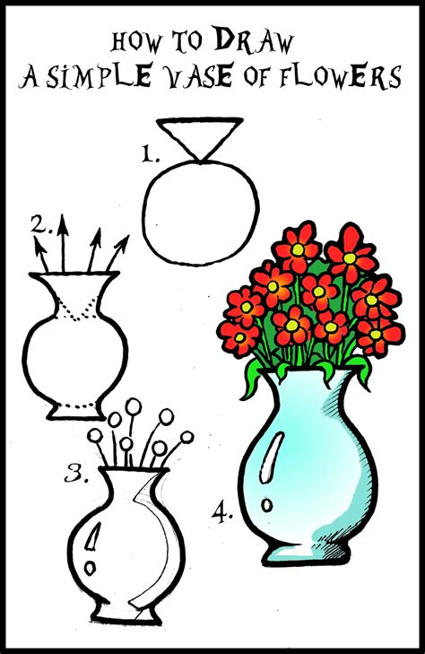 How To Draw Flowers In A Vase by Daryl Hobson Artwork How To Draw A Vase Of Flowers Step