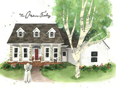 House Portraits by Custom House Portrait 11x14 Quot Whimsical House Drawing Painting