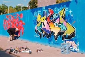 big  graffiti painter tags  beer garden site