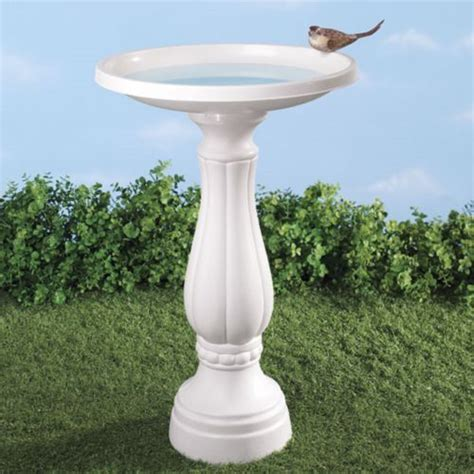 bird bath white resin