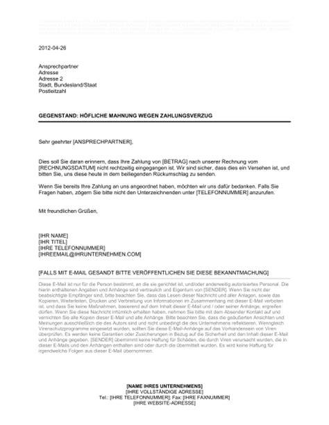 Mahnung Muster Italienisch h 246 fliche mahnung wegen zahlungsverzugs vorlagen und