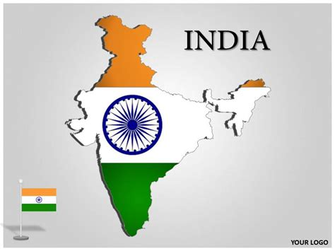 India Map Editable Ppt Map India India Map With Flag India Powerpoint Template