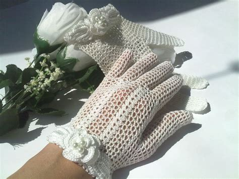 Handmade Crochet - style handmade crochet bridal gloves by