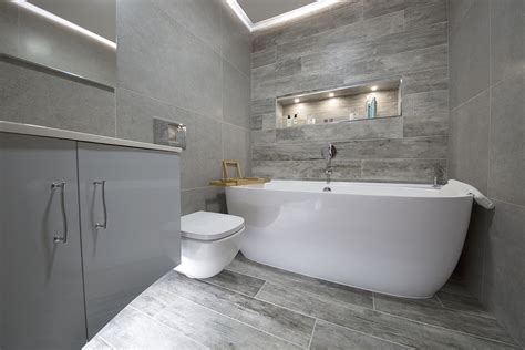 grey wood tile bathroom decorating interior of your house