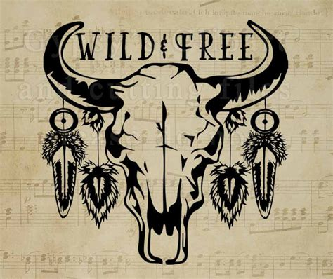 bison skull svg cow skull gypsy soul wild child free