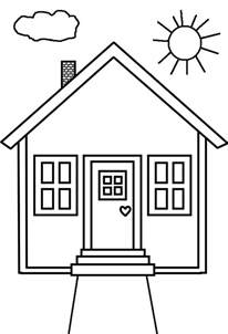 kid drawing of house in houses coloring page netart