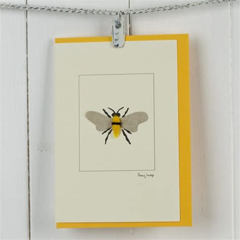 bee cards bee card a handmade and finished greeting with a