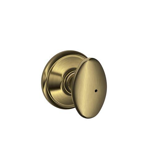 Push Lock Door Knobs by Shop Schlage F Siena Antique Brass Egg Push Button Lock