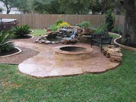backyard flagstone patio ideas fire pit landscaping with tile paths fire pit