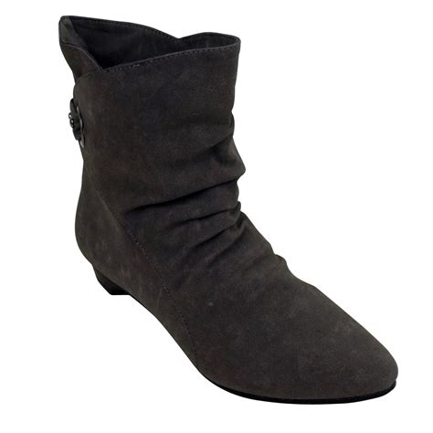 womens grey faux suede slouch smart cuff ankle boots